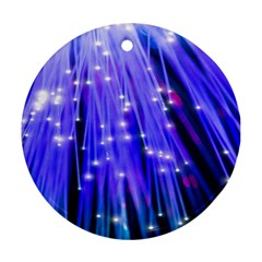 Neon Light Line Vertical Blue Ornament (Round)