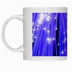 Neon Light Line Vertical Blue White Mugs