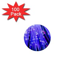Neon Light Line Vertical Blue 1  Mini Magnets (100 pack)