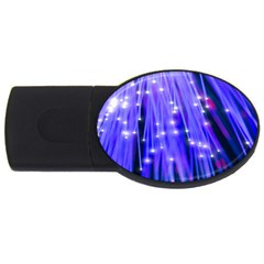Neon Light Line Vertical Blue USB Flash Drive Oval (1 GB)