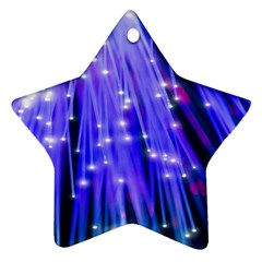 Neon Light Line Vertical Blue Star Ornament (Two Sides)