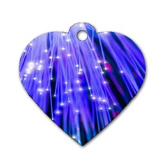 Neon Light Line Vertical Blue Dog Tag Heart (Two Sides)