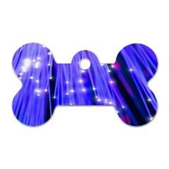 Neon Light Line Vertical Blue Dog Tag Bone (Two Sides)