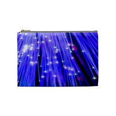 Neon Light Line Vertical Blue Cosmetic Bag (Medium)