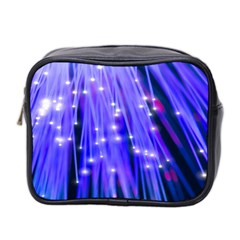 Neon Light Line Vertical Blue Mini Toiletries Bag 2 Side