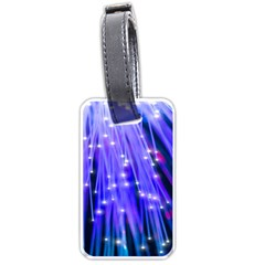 Neon Light Line Vertical Blue Luggage Tags (One Side)