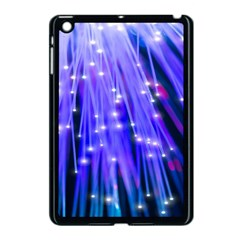 Neon Light Line Vertical Blue Apple iPad Mini Case (Black)