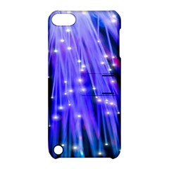 Neon Light Line Vertical Blue Apple iPod Touch 5 Hardshell Case with Stand