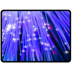 Neon Light Line Vertical Blue Double Sided Fleece Blanket (large)