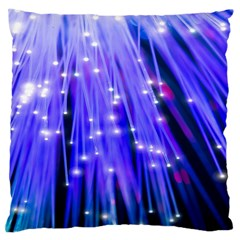 Neon Light Line Vertical Blue Large Flano Cushion Case (One Side)