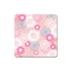 Scrapbook Paper Iridoby Flower Floral Sunflower Rose Square Magnet