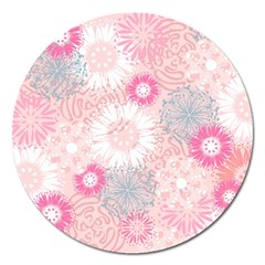 Scrapbook Paper Iridoby Flower Floral Sunflower Rose Magnet 5  (Round)