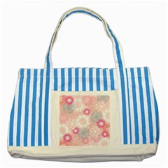 Scrapbook Paper Iridoby Flower Floral Sunflower Rose Striped Blue Tote Bag