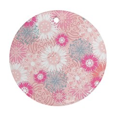 Scrapbook Paper Iridoby Flower Floral Sunflower Rose Round Ornament (Two Sides)