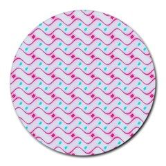 Squiggle Red Blue Milk Glass Waves Chevron Wave Pink Round Mousepads