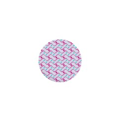 Squiggle Red Blue Milk Glass Waves Chevron Wave Pink 1  Mini Buttons