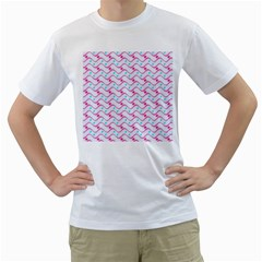 Squiggle Red Blue Milk Glass Waves Chevron Wave Pink Men s T-Shirt (White) (Two Sided)