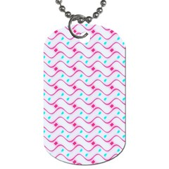 Squiggle Red Blue Milk Glass Waves Chevron Wave Pink Dog Tag (One Side)