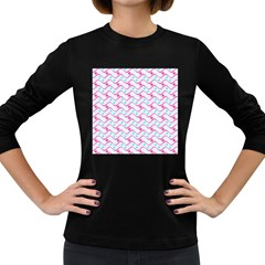 Squiggle Red Blue Milk Glass Waves Chevron Wave Pink Women s Long Sleeve Dark T-Shirts