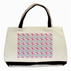 Squiggle Red Blue Milk Glass Waves Chevron Wave Pink Basic Tote Bag