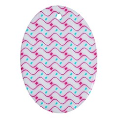 Squiggle Red Blue Milk Glass Waves Chevron Wave Pink Oval Ornament (Two Sides)