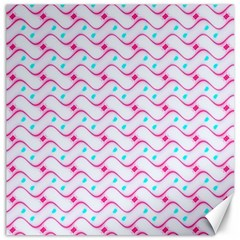 Squiggle Red Blue Milk Glass Waves Chevron Wave Pink Canvas 16  x 16