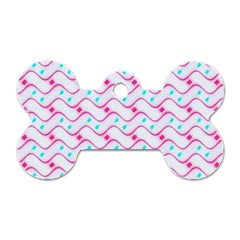 Squiggle Red Blue Milk Glass Waves Chevron Wave Pink Dog Tag Bone (One Side)
