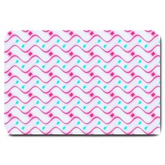 Squiggle Red Blue Milk Glass Waves Chevron Wave Pink Large Doormat