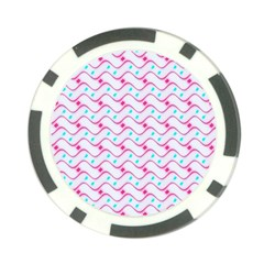 Squiggle Red Blue Milk Glass Waves Chevron Wave Pink Poker Chip Card Guard