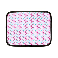 Squiggle Red Blue Milk Glass Waves Chevron Wave Pink Netbook Case (Small)