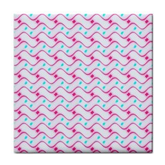 Squiggle Red Blue Milk Glass Waves Chevron Wave Pink Face Towel