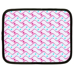 Squiggle Red Blue Milk Glass Waves Chevron Wave Pink Netbook Case (XL)