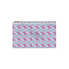 Squiggle Red Blue Milk Glass Waves Chevron Wave Pink Cosmetic Bag (Small)