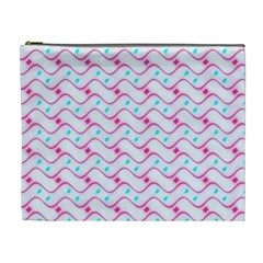 Squiggle Red Blue Milk Glass Waves Chevron Wave Pink Cosmetic Bag (XL)