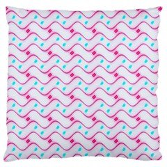 Squiggle Red Blue Milk Glass Waves Chevron Wave Pink Large Cushion Case (One Side)