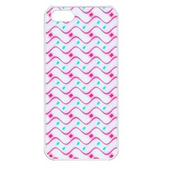 Squiggle Red Blue Milk Glass Waves Chevron Wave Pink Apple iPhone 5 Seamless Case (White)