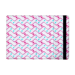 Squiggle Red Blue Milk Glass Waves Chevron Wave Pink Apple iPad Mini Flip Case