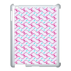 Squiggle Red Blue Milk Glass Waves Chevron Wave Pink Apple Ipad 3/4 Case (white)