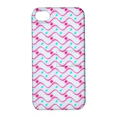 Squiggle Red Blue Milk Glass Waves Chevron Wave Pink Apple iPhone 4/4S Hardshell Case with Stand