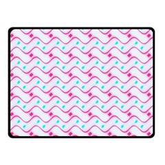 Squiggle Red Blue Milk Glass Waves Chevron Wave Pink Double Sided Fleece Blanket (Small)