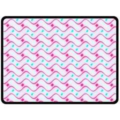 Squiggle Red Blue Milk Glass Waves Chevron Wave Pink Double Sided Fleece Blanket (large)