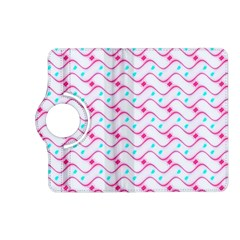 Squiggle Red Blue Milk Glass Waves Chevron Wave Pink Kindle Fire HD (2013) Flip 360 Case