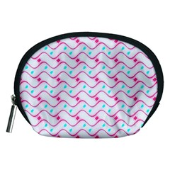 Squiggle Red Blue Milk Glass Waves Chevron Wave Pink Accessory Pouches (Medium)