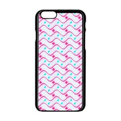 Squiggle Red Blue Milk Glass Waves Chevron Wave Pink Apple iPhone 6/6S Black Enamel Case