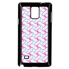 Squiggle Red Blue Milk Glass Waves Chevron Wave Pink Samsung Galaxy Note 4 Case (Black)