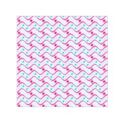 Squiggle Red Blue Milk Glass Waves Chevron Wave Pink Small Satin Scarf (Square)