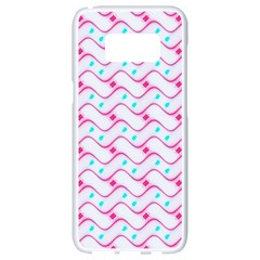 Squiggle Red Blue Milk Glass Waves Chevron Wave Pink Samsung Galaxy S8 White Seamless Case