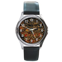 Unique Abstract Mix 1a Round Metal Watch