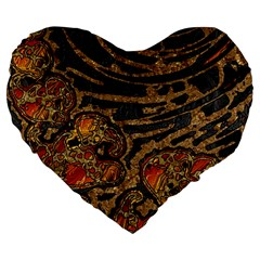 Unique Abstract Mix 1a Large 19  Premium Flano Heart Shape Cushions