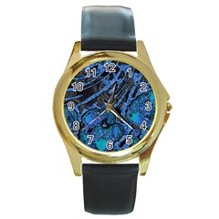 Unique Abstract Mix 1b Round Gold Metal Watch